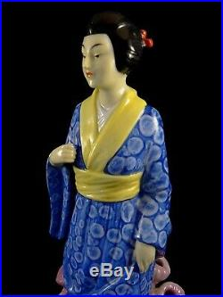 Ancienne statue faïence Asie vase Porte épingles Présentoir ART DECO Germany