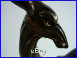 Antilope Gazelle Regule Zamac Sur Marbre Patine Bronze Africa Tribal Art Deco