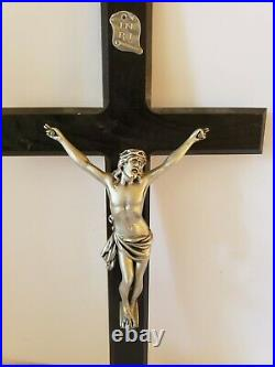 Antique 585ms Art Déco Jésus Inri Catholique Église Ébène Mural Croix Crucifix