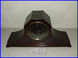 Antique Travail 1923 Neuf Haven Westminster Carillon Acajou Art Déco Pendule