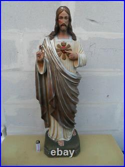 Antique statue 83 cm art deco religion Jesus sacré coeur sacred Heart Balestra