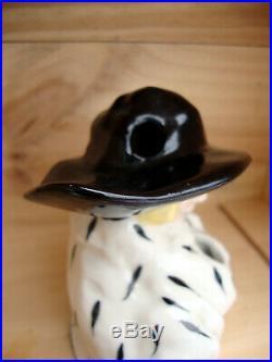 Art déco encrier polychrome Femme au chapeau Henry Delcourt Boulogne