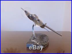 Avion A Helices En Fonte D'aluminium, Cendrier En Marbre, Art Deco Annees 30 40
