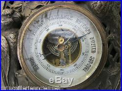Baromètre Thermomètre Art Déco Perruches ancien métal argenté LUFFT déposé 300