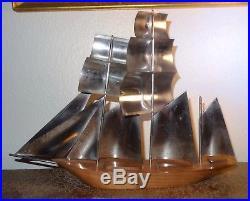 Beau bateau voilier maquette métal chromé palissandre design 1950's