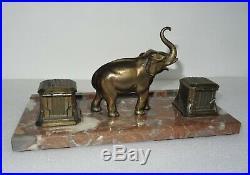 Bel encrier art déco en marbre et régule à l' éléphant