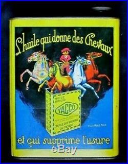 Bidon YACCO huile Belle illustration Art-Déco d'après Marcel Bloch Vintage