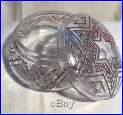 Boite A Poudre Etoile Star Art Deco Verre Glass Vintage Powder Jar Box