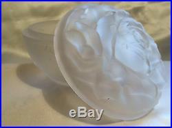 Boite A Poudre Rose De Mauriel Art Deco Verre Vintage Powder Box Jar Glass