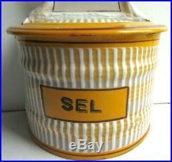 Boite à SEL, Art Déco, tôle émaillée comme cafetière, signée BB