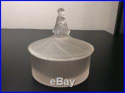 Boîte à poudre Femme drapée verre moulé Parfums Dubarry Julien Viard Art Déco