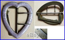 Boucle argent massif et émail coeur Art Deco enamel silver buckle sacred heart