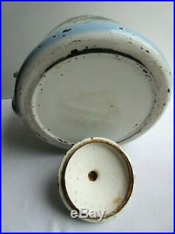 Bouilloire ART DECO JAPY FRANCE, tôle émaillée bleu et blanc Les Pensées
