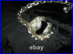 Bracelet Art Deco/metal Chrome/bouledogue/motard