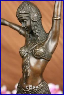 Bronze Sculpture Art Déco Dancer Statue, Signé D. H. Fonte Figurine