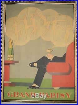 CHAMPAGNE GRAND PARISY ancienne affichette publicitaire d'intérieur Art Déco