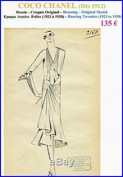 CHANEL Très Rare Croquis Original Encre de Chine Epoque Années Folles n° 3164