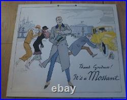 CHAPEAU MOSSANT rare carton publicitaire ancien illustré par Préjean ART DECO