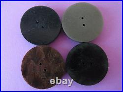 COLLECTION de 4 GRANDS BOUTONS ART DECO ANCIENS BAKELITE & Micro-Mosaïque 35mm