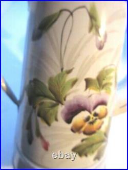 Cafetière Art Déco, tôle émaillée blanche Pensées et Pois de senteur