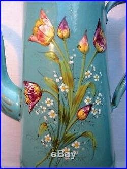 Cafetière Art Déco tôle émaillée en relief Tulipes et myosotis sur fond vert