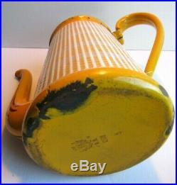 Cafetière Art Déco, tôle émaillée jaune et blanc signé BB