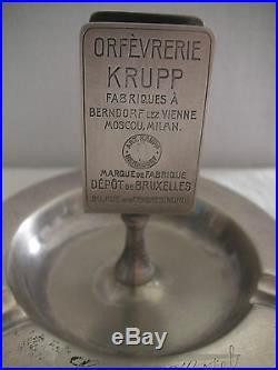Cendrier Pyrogène Art Déco en métal argenté Grand Hotel de l'Océan de La Panne