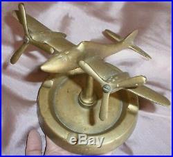 Cendrier avion militaire hélice Bronze massif années 30 40 Rare montant central