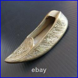 Cendrier babouche sabot bronze cuivre laiton fait main art nouveau déco N5320
