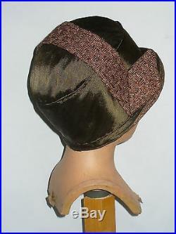 Chapeau Cloche / Coiffe En Paille & Soie Epoque Art Deco Gatsby Flapper Hat 1920