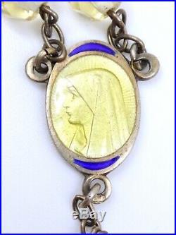 Chapelet ancien en argent massif vermeil émaillé perles jaunes Art Déco 1930