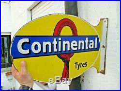 Continental Tyres Pneus plaque émaillée garage rare art déco 1920