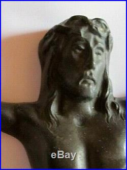 Corpus religieux Jésus Christ grand bronze art-déco signé A. Dubois