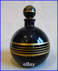 Deux Anciens Flacons De Parfum Epoque Art Deco / Noir Et Or