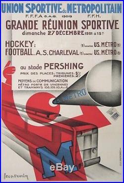 Dupin Affiche Ancienne Art Deco U. S. Metro Reunion Sportive CI 1930