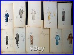 EDWARD MOLYNEUX 34 DESSINS ORIGINAUX COULEUR HAUTE COUTURE 1920's MODE ART DECO