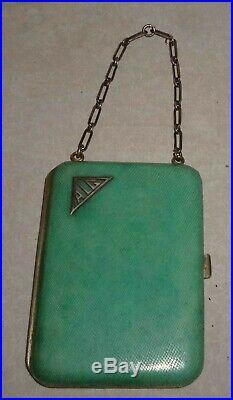 ETUI-SAC GALUCHAT vert, MINAUDIERE art deco, rare porte-cigarette, porte-cartes