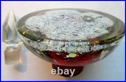 Encrier ART Déco en verre sulfure, avec son bouchon à facettes, MURANO