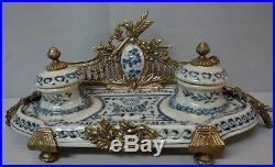 Encrier Ecritoire Bureau Style Art Deco Style Art Nouveau Porcelaine Bronze