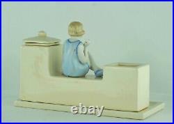 Encrier Ecritoire Figurine Baigneuse Normandie Trouville Style Art Deco Porcelai