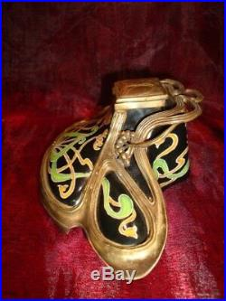 Encrier Fleur Iris Style Art Deco Style Art Nouveau Porcelaine Bronze Ceramique