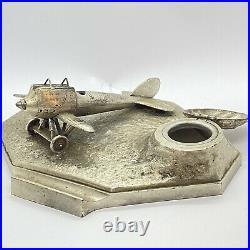 Encrier & Porte Plume Aviation Signé OUVET. Régule Argenté & Art Deco XX Eme