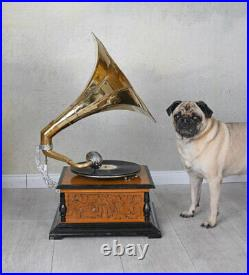 Entonnoir Gramophone His Masters Voice Tourne-Disque Art Déco Shellac-Plaque