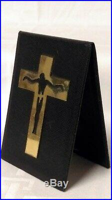 Époque Art Déco Puiforcat Crucifix Sur Cuir