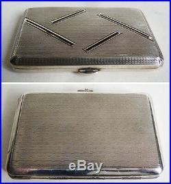 Etui à cigarettes boite argent massif ART DECO vers 1925 silver cigaret box 77gr