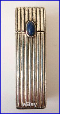 Étui tube pour baton de rouge à lèvres ARGENT massif Art Deco avec miroir lapis