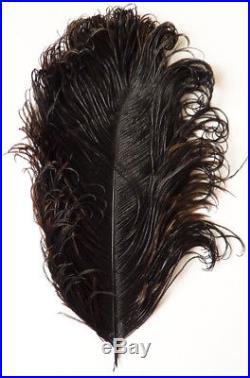 Éventail ancien en plume d'autruche vers 1920 avec initiales en OR massif Fan