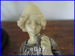 Fillette femme panier ufs en régule et bakélite style chryséléphantine art déco