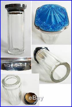 Flacon à parfum ARGENT massif + émail 1929 Art Deco Angleterre silver enamel