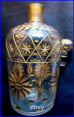 Flacon à parfum cristal ciselé de fleurs à l'or fin, Art Déco Nouveau, 18 cm